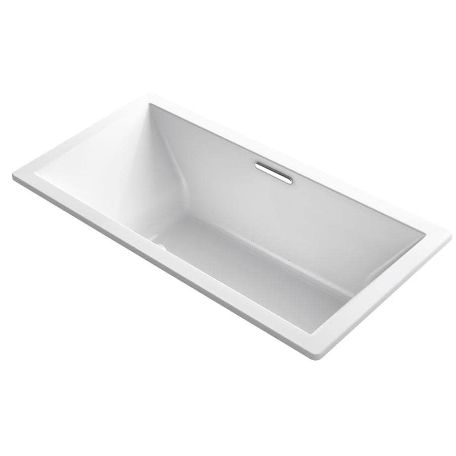 KOHLER Underscore 72-in White Acrylic Drop-In Air Bath with Front Center Drain