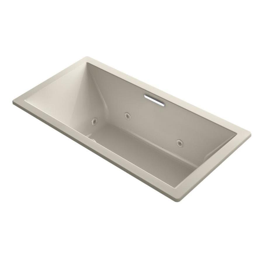 KOHLER Underscore 72-in Sandbar Acrylic Drop-In Whirlpool Tub with Center Drain