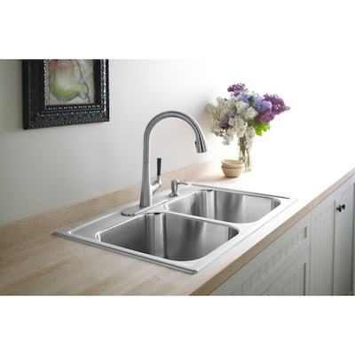 Toccata 33-in x 22-in Stainless Steel Double Equal Bowl Drop-In 4-Hole  Commercial/Residential Kitchen Sink