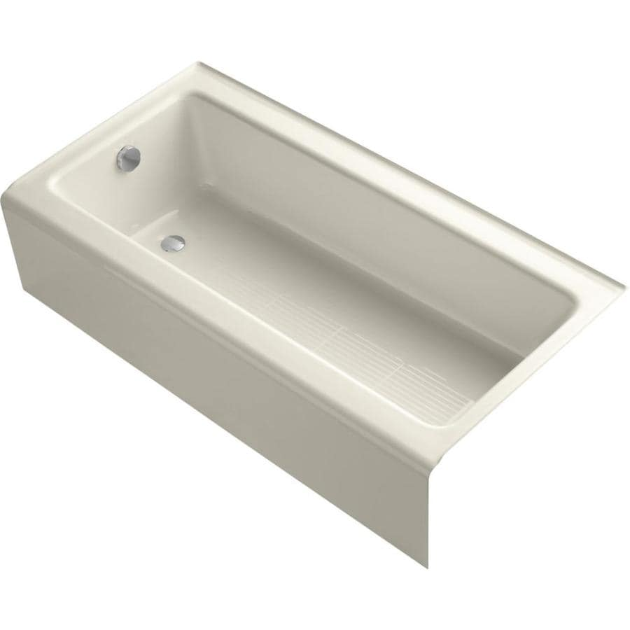 KOHLER Bellwether Almond Cast Iron Rectangular Alcove Bathtub with Left-Hand Drain (Common: 30-in x 60-in; Actual: 14.5-in x 30.25-in x 60-in)