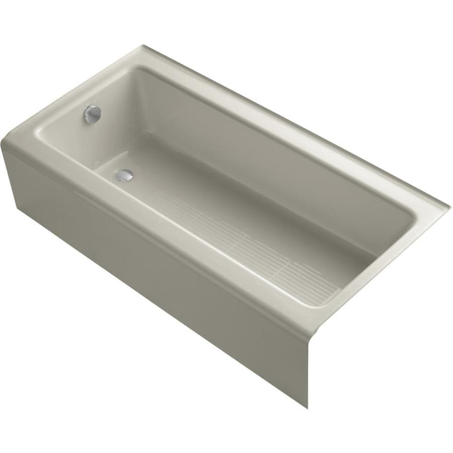 KOHLER Bellwether Sandbar Cast Iron Rectangular Alcove Bathtub with Left-Hand Drain (Common: 30-in x 60-in; Actual: 14.5-in x 30.25-in x 60-in)
