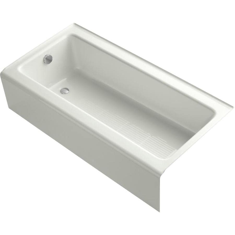 Shop kohler bellwether 60 in dune cast iron alcove bathtub for Alcove bathtub dimensions