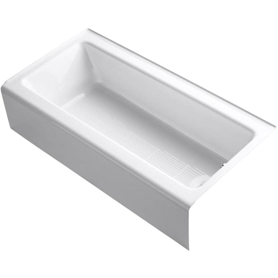 Shop kohler bellwether 60 in white cast iron alcove for Alcove bathtub dimensions