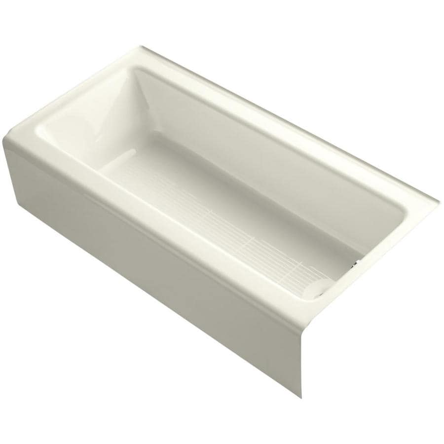 Shop kohler bellwether 60 in biscuit cast iron alcove for Alcove bathtub dimensions