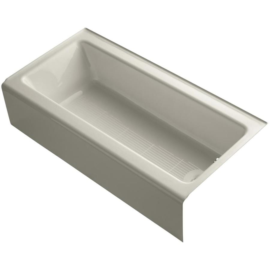 KOHLER Bellwether Sandbar Cast Iron Rectangular Alcove Bathtub with Right-Hand Drain (Common: 30-in x 60-in; Actual: 14.5-in x 30.25-in x 60-in)