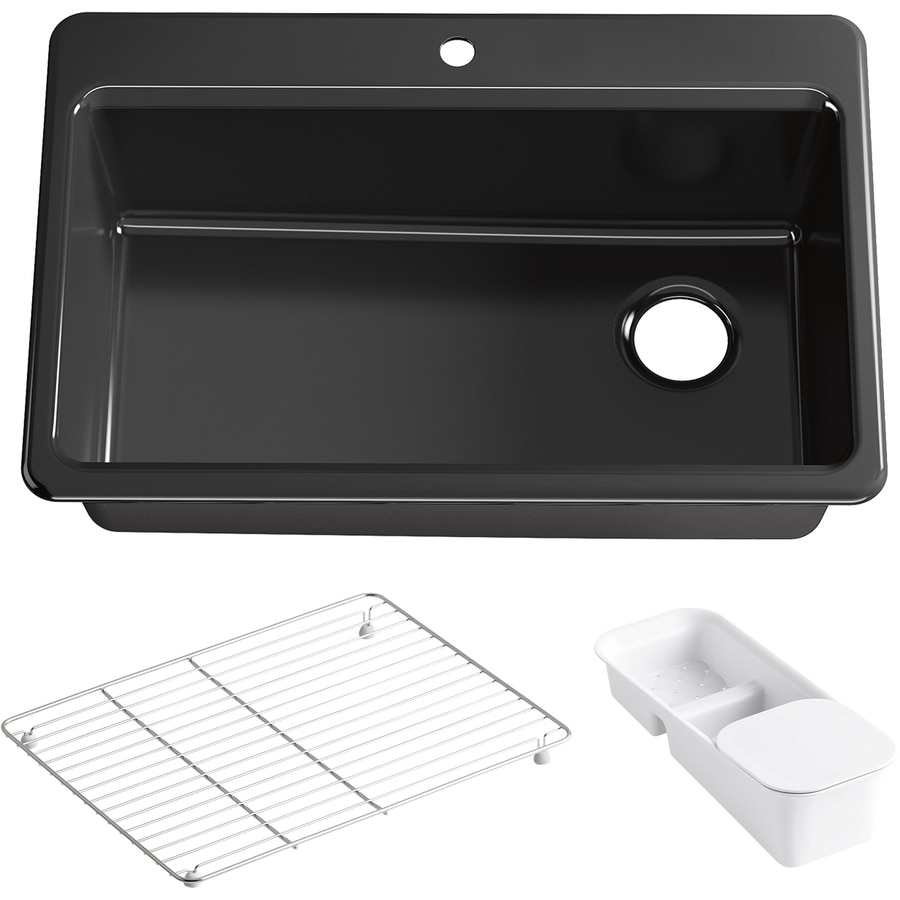 KOHLER Riverby 22-in x 33-in Black Black 1 Cast Iron Drop-in 1-Hole Residential Kitchen Sink