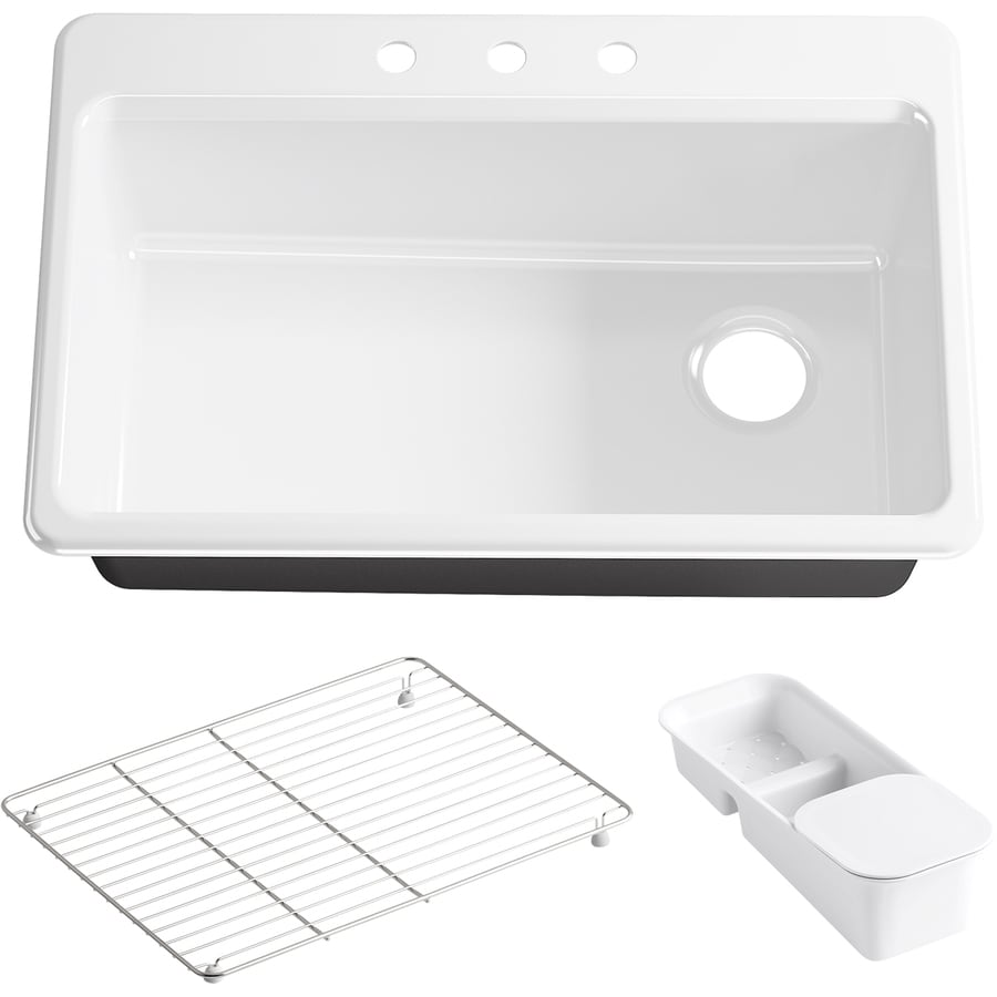 KOHLER Riverby 22-in x 33-in White Single-Basin Cast Iron Drop-in 3-Hole Residential Kitchen Sink