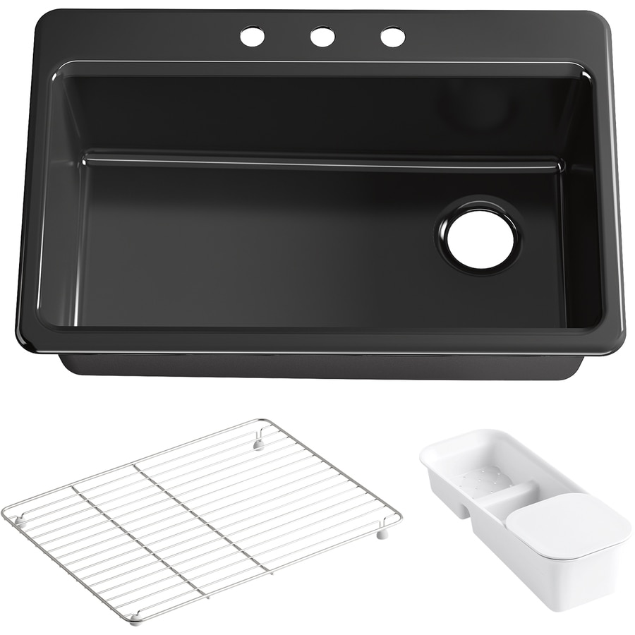 KOHLER Riverby 22-in x 33-in Black Single-Basin Cast Iron Drop-in 3-Hole Residential Kitchen Sink