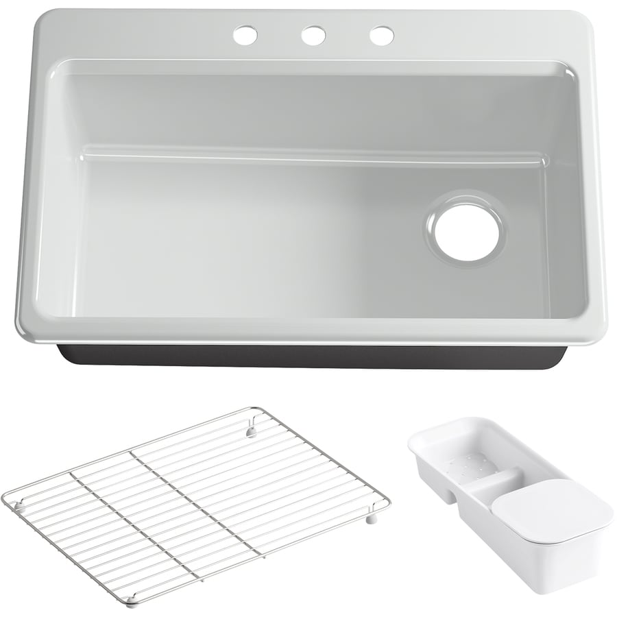 single basin drop in enameled cast iron kitchen sink at