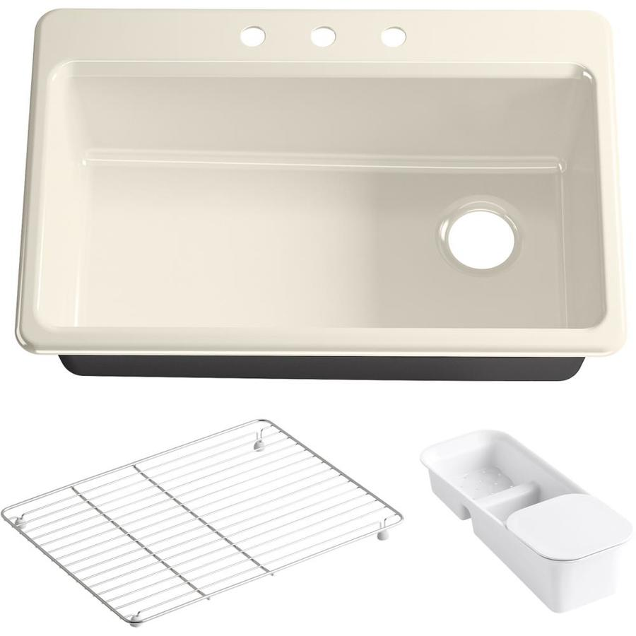 KOHLER Riverby 22-in x 33-in Cane Sugar Single-Basin Cast Iron Drop-in 3-Hole Residential Kitchen Sink