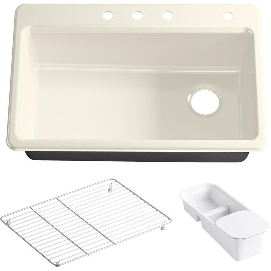 KOHLER Riverby 22-in x 33-in Almond Single-Basin Cast Iron Drop-in 3-Hole Residential Kitchen Sink