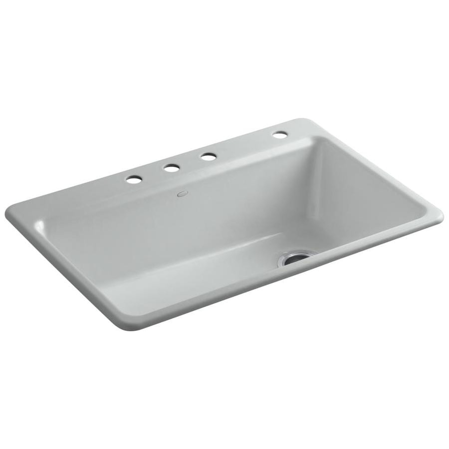 KOHLER Riverby 22-in x 33-in Ice Grey 1 Cast Iron Drop-in 3-Hole Residential Kitchen Sink
