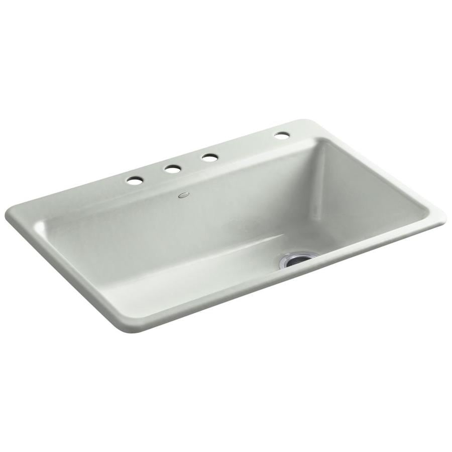 KOHLER Riverby 22-in x 33-in Sea Salt Single-Basin Cast Iron Drop-in 3-Hole Residential Kitchen Sink