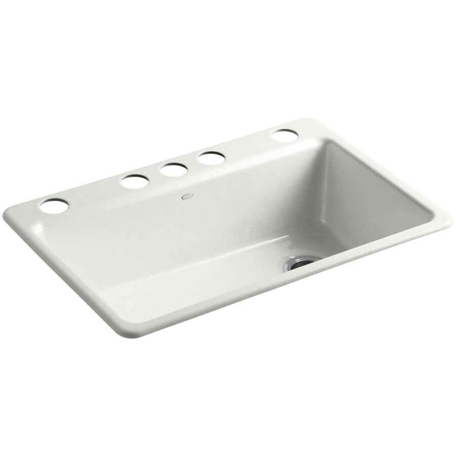KOHLER Riverby 22-in x 33-in Sea Salt Single-Basin Cast Iron Undermount 5-Hole Residential Kitchen Sink