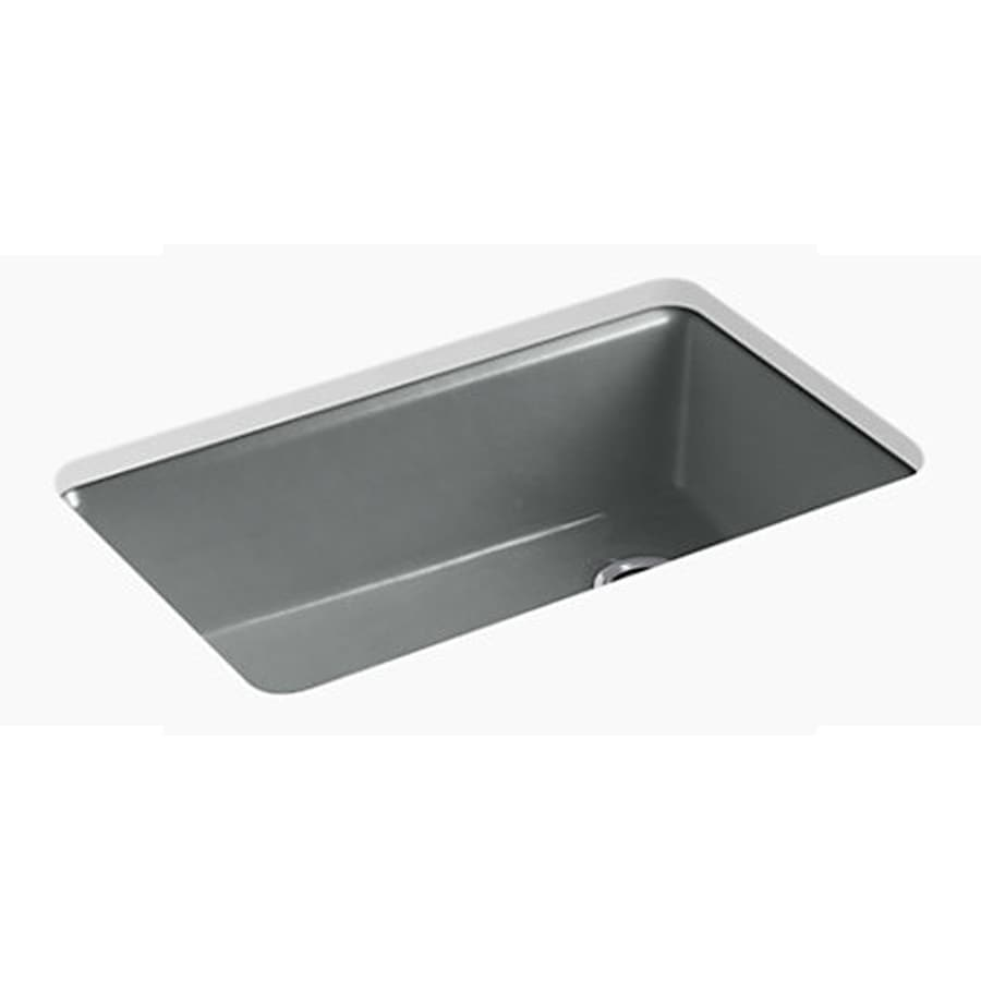 Kohler Single Basin Kitchen Sink : Shop KOHLER Riverby Single-Basin Undermount Cast Iron Kitchen Sink at ...