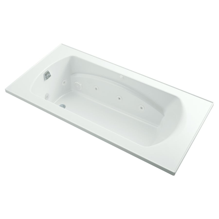 Sterling Lawson 2-person White Vikrell Rectangular Drop-In Whirlpool Tub (Common: 72-in x 36-in; Actual: 20.3125-in x 72-in x 36-in)