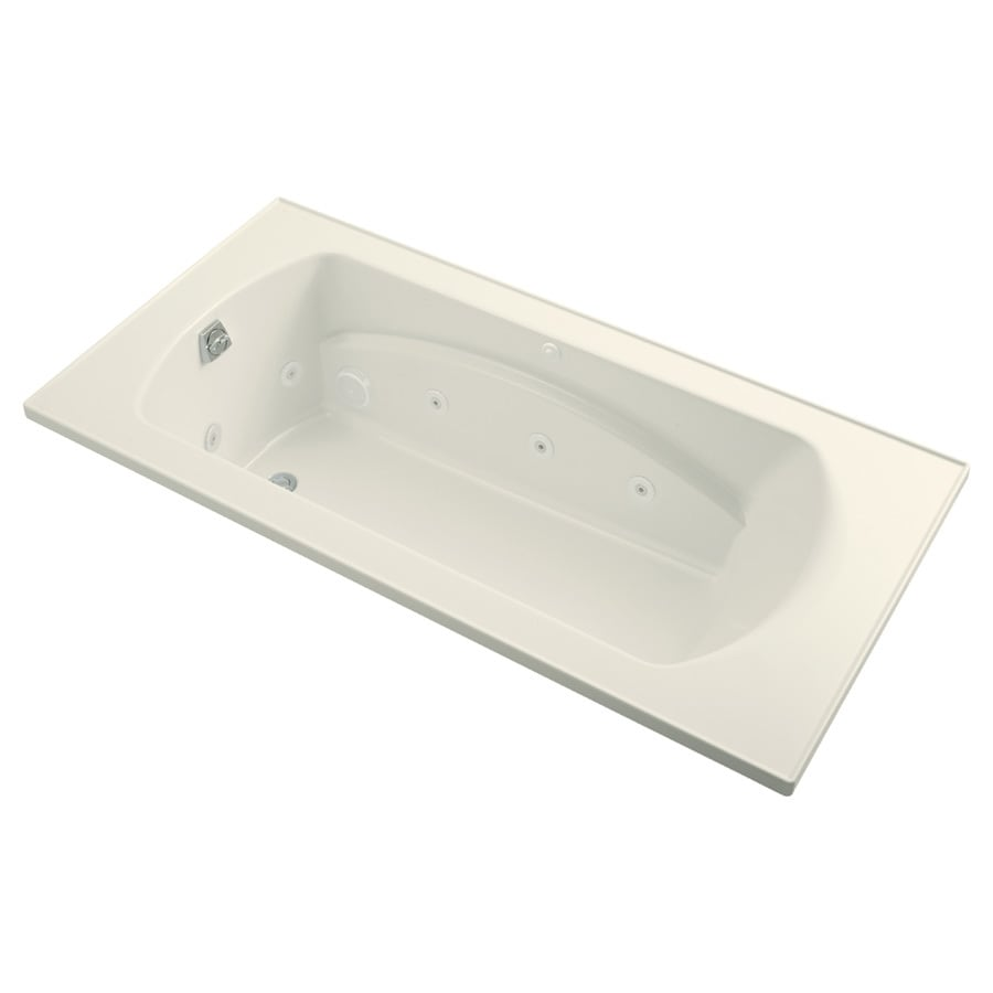 Sterling Lawson 2-Person Biscuit Vikrell Rectangular Whirlpool Tub (Common: 72-in x 36-in; Actual: 20.3125-in x 72-in x 36-in)