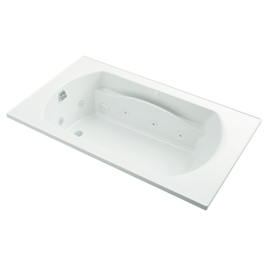 Sterling Lawson 72-in White Vikrell Drop-In Whirlpool with Reversible Drain