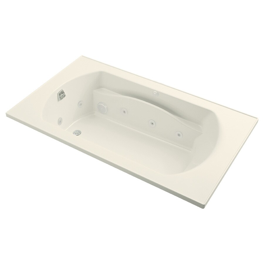 Sterling Lawson 2-Person Biscuit Vikrell Rectangular Whirlpool Tub (Common: 72-in x 42-in; Actual: 20.3125-in x 72-in x 42-in)