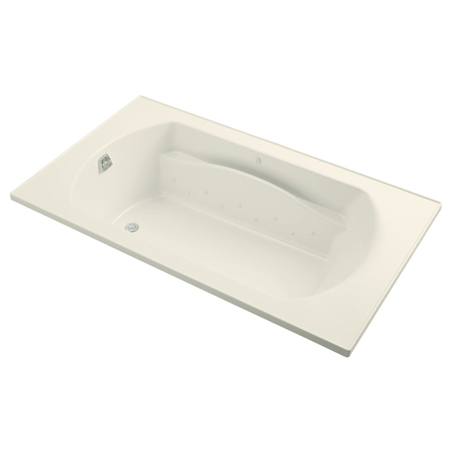 Sterling Lawson 42-in L x 72-in W x 20-in H Biscuit Vikrell Oval In Rectangle Drop-in Air Bath