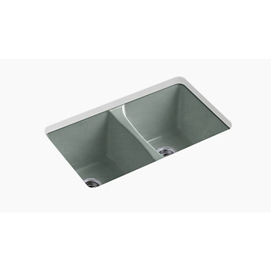 Shop Kohler Deerfield Double Basin Undermount Enameled Cast Iron Kitchen Sink At Lowes Com