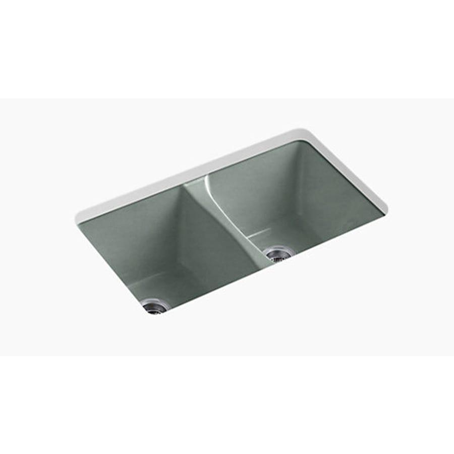 Kohler Undermount Kitchen Sinks Lowes: KOHLER Deerfield Double-Basin Undermount Enameled Cast