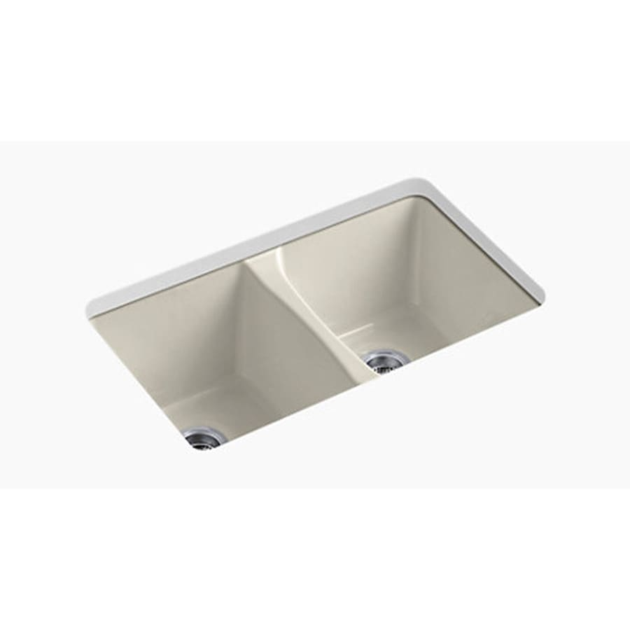 Shop Kohler Deerfield Double Basin Undermount Enameled Cast Iron Kitchen Sink At