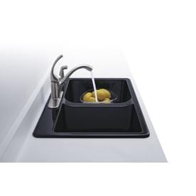 Kohler Deerfield 33 In X 22 Black Double Basin Cast Iron Drop 5 Hole Commercial Residential Kitchen Sink