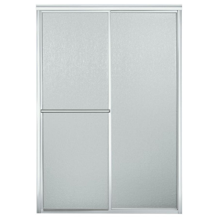 Sterling 41.1875-in to 46.1875-in Framed Silver Sliding Shower Door