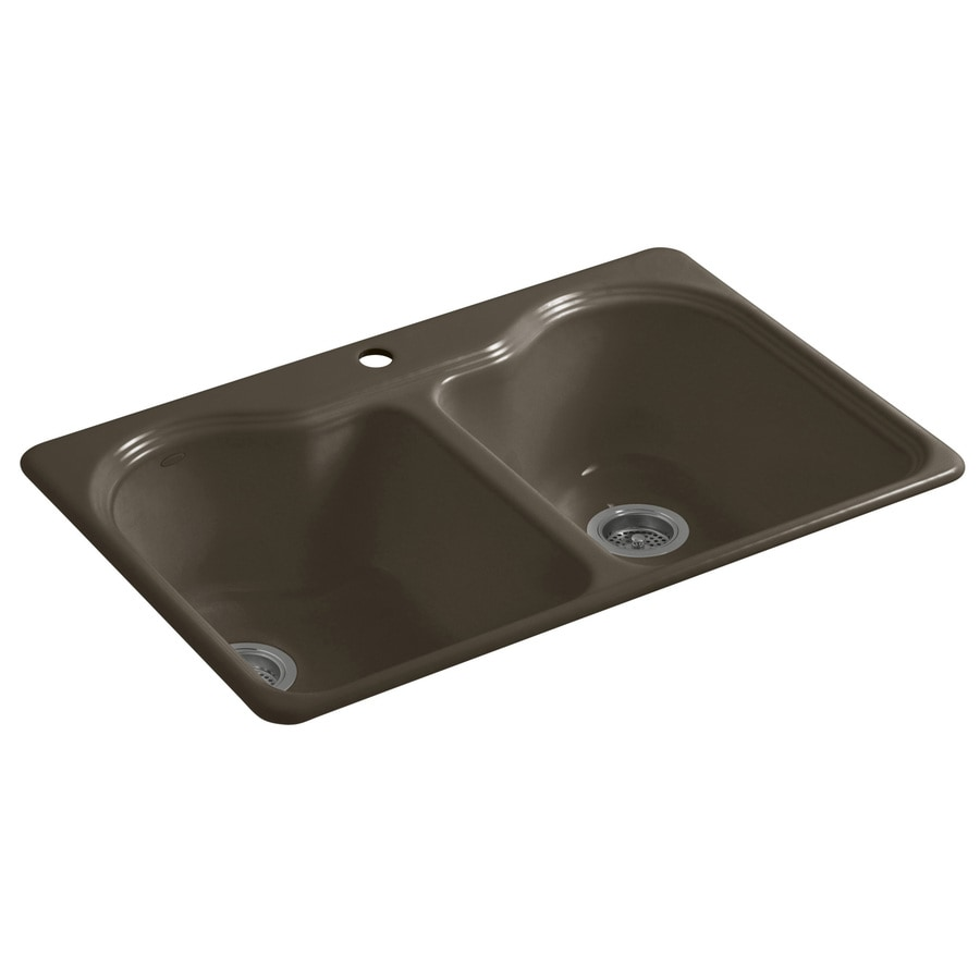 KOHLER Hartland 22-in x 33-in Suede Double-Basin Cast Iron Drop-in 1-Hole Residential Kitchen Sink