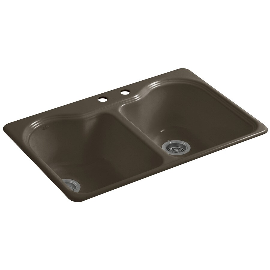 KOHLER Hartland 22-in x 33-in Suede 2 Cast Iron Drop-in 2-Hole Residential Kitchen Sink