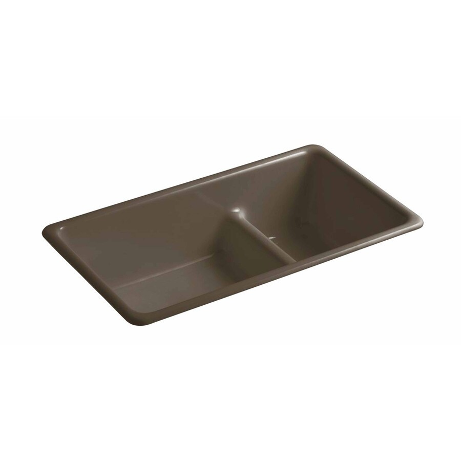 KOHLER 18.7500-in x 33.0000-in Suede Double-Basin Cast Iron Undermount Residential Kitchen Sink
