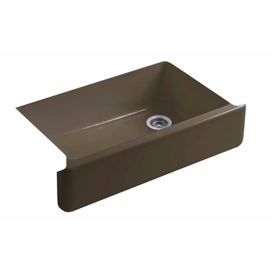 KOHLER Whitehaven 21.5625-in x 35.6875-in Suede Single-Basin Cast Iron Apron Front/Farmhouse Residential Kitchen Sink