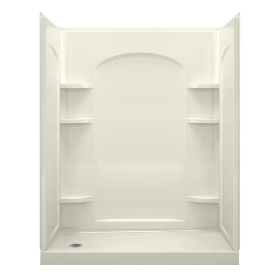 Sterling Ensemble Biscuit Vikrell Wall and Floor 4-Piece Alcove Shower Kit (Common: 30-in x 60-in; Actual: 76.5-in x 31.25-in x 60.25-in)