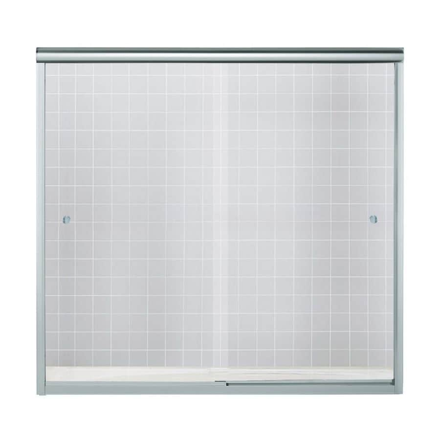 Sterling 55.5-in H x 59.625-in W Smooth Clear Glass Bathtub and Shower Glass Panel