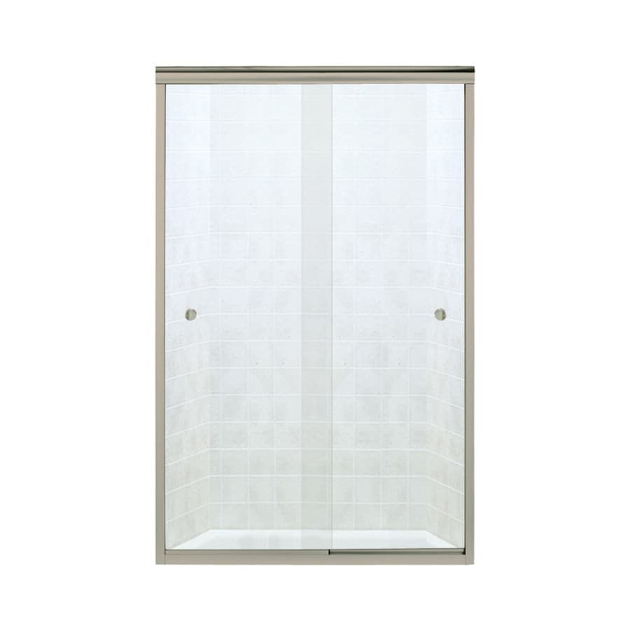 Sterling Finesse 42.625-in to 47.625-in W Frameless Brushed Nickel Sliding Shower Door