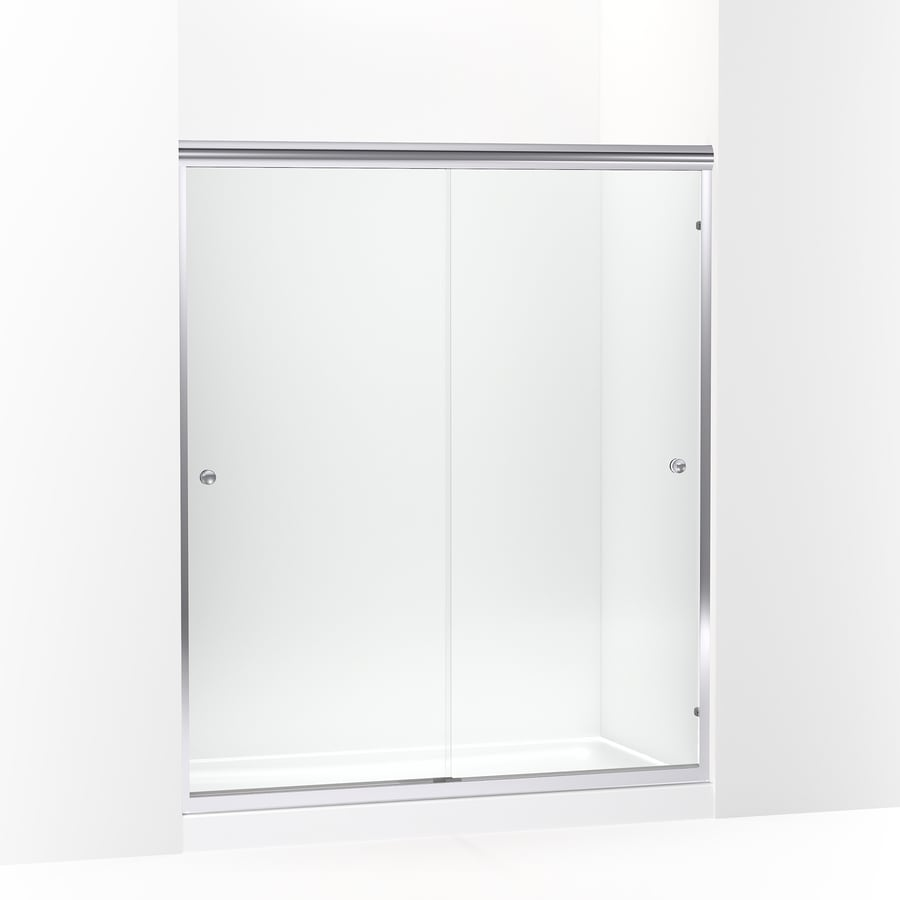 Shop Sterling Finesse Frameless Silver Sliding Shower Door At