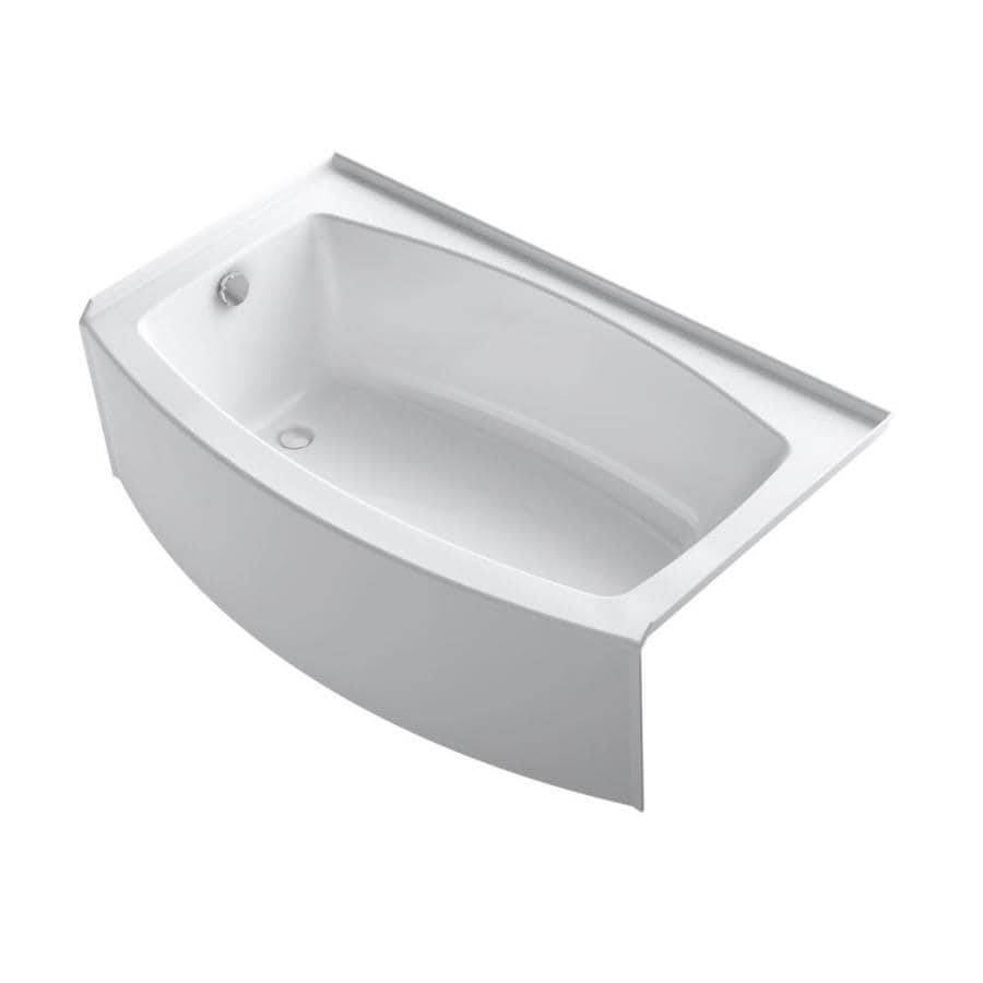 Shop kohler expanse 60 in white acrylic alcove bathtub for Alcove bathtub dimensions
