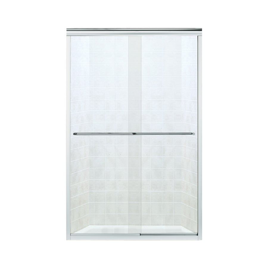 Sterling Finesse 42.625-in to 47.625-in Frameless Silver Sliding Shower Door