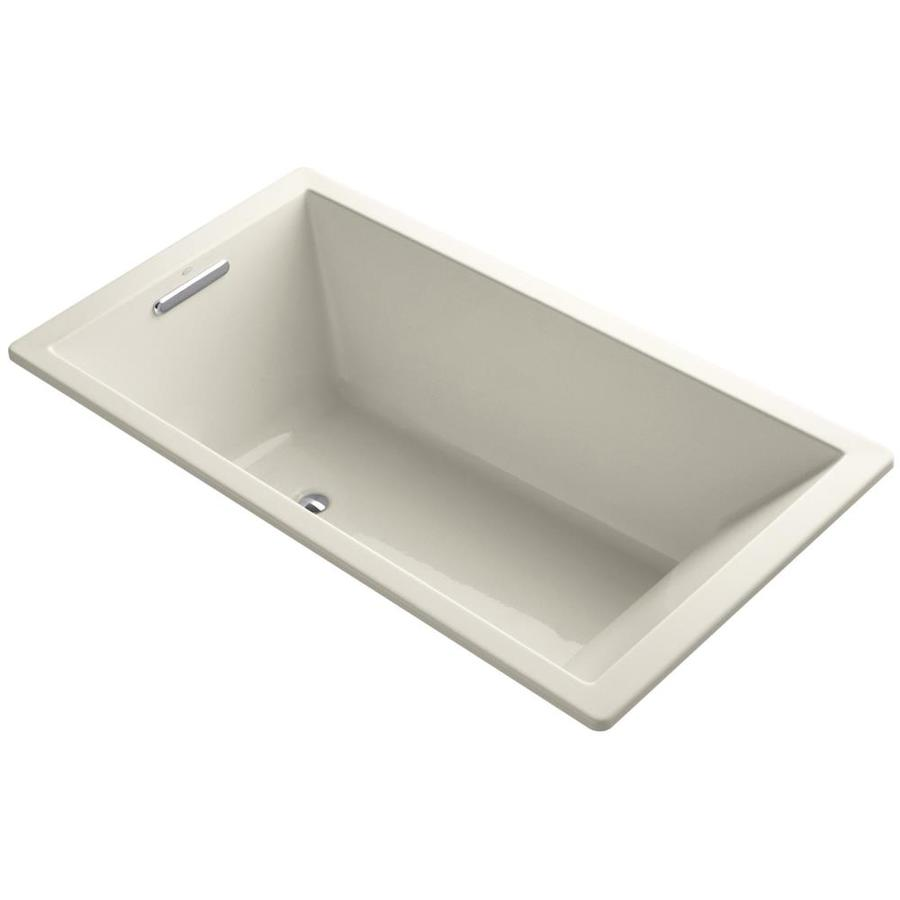 KOHLER Underscore Almond Acrylic Rectangular Drop-in Bathtub with Center Drain (Common: 36-in x 66-in; Actual: 22.0000-in x 36.0000-in x 66.0000-in)