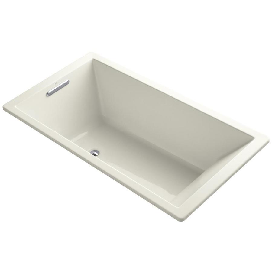 KOHLER Underscore 66-in Biscuit Acrylic Drop-In Bathtub with Center Drain
