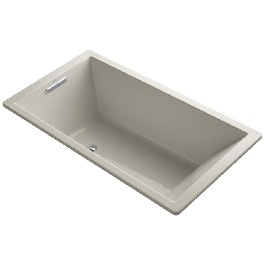 KOHLER Underscore 66-in Sandbar Acrylic Drop-In Bathtub with Center Drain