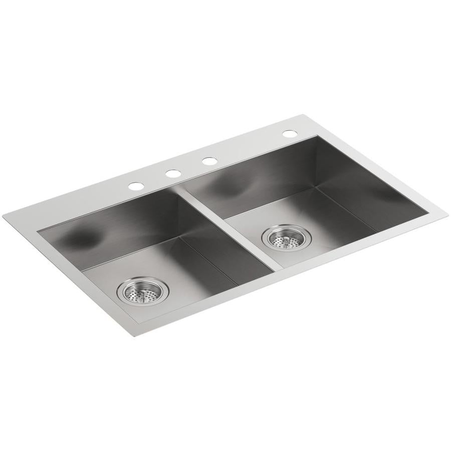 KOHLER Vault 22-in x 33-in Stainless Steel Double-Basin Drop-in or Undermount 4-Hole Residential Kitchen Sink
