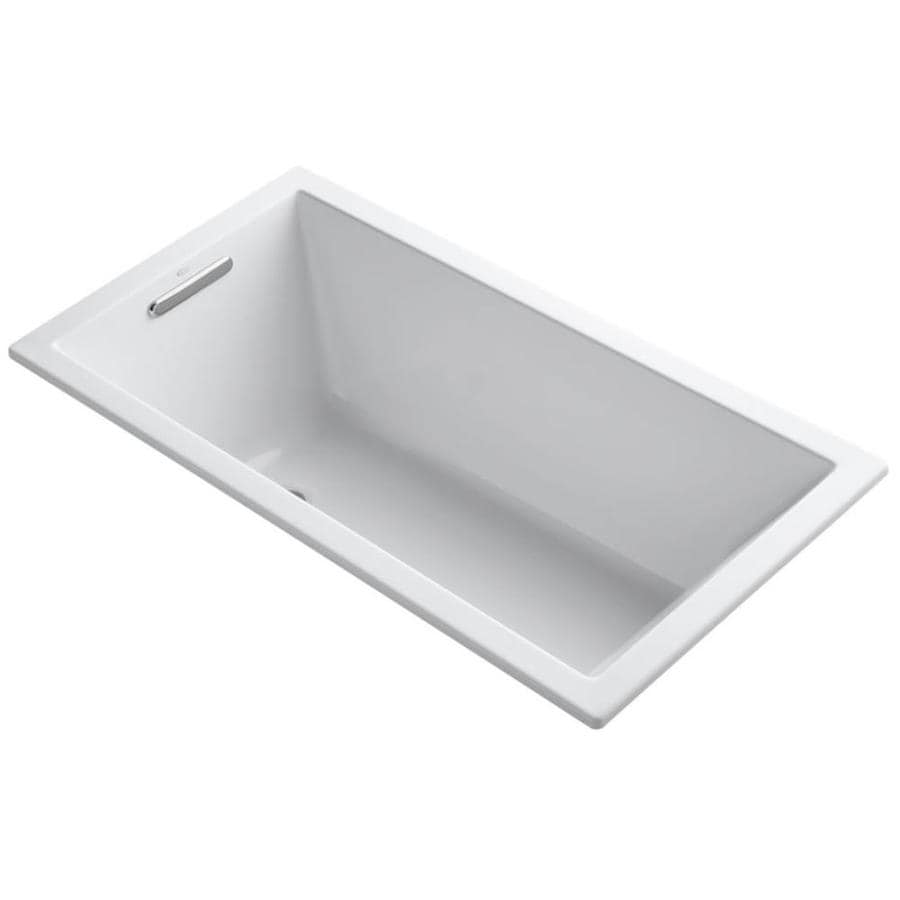 KOHLER Underscore 60-in White Acrylic Drop-In Bathtub with Reversible Drain
