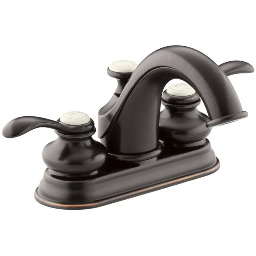 Kohler fairfax oil rubbed bronze 2 handle 4 in centerset - Kohler two tone bathroom faucets ...
