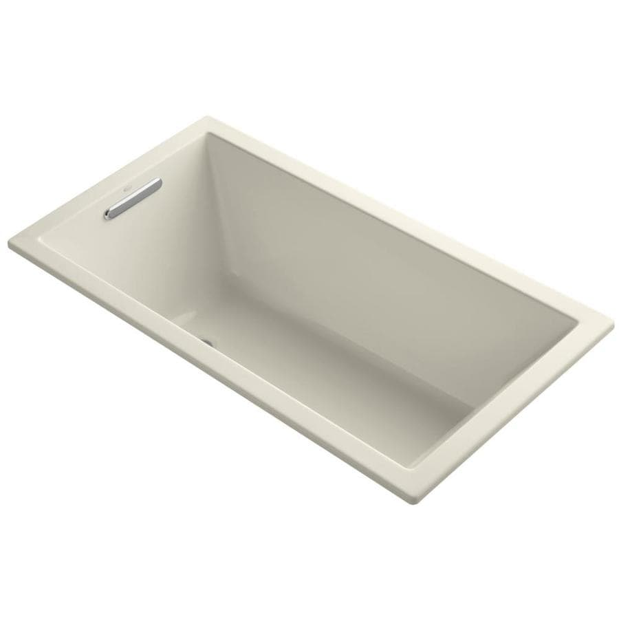 KOHLER Underscore Almond Acrylic Rectangular Drop-in Bathtub with Left-Hand Drain (Common: 32-in x 60-in; Actual: 21.0000-in x 32.0000-in x 60.0000-in)