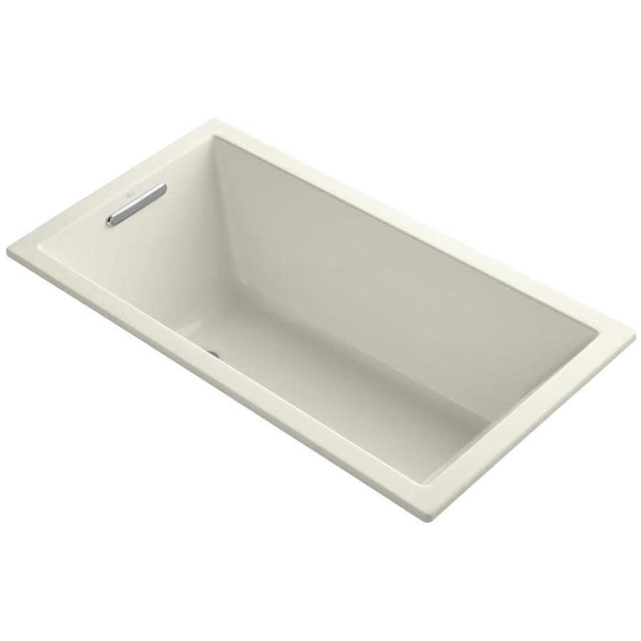 KOHLER Underscore Biscuit Acrylic Rectangular Drop-in Bathtub with Left-Hand Drain (Common: 32-in x 60-in; Actual: 21-in x 32-in x 60-in)