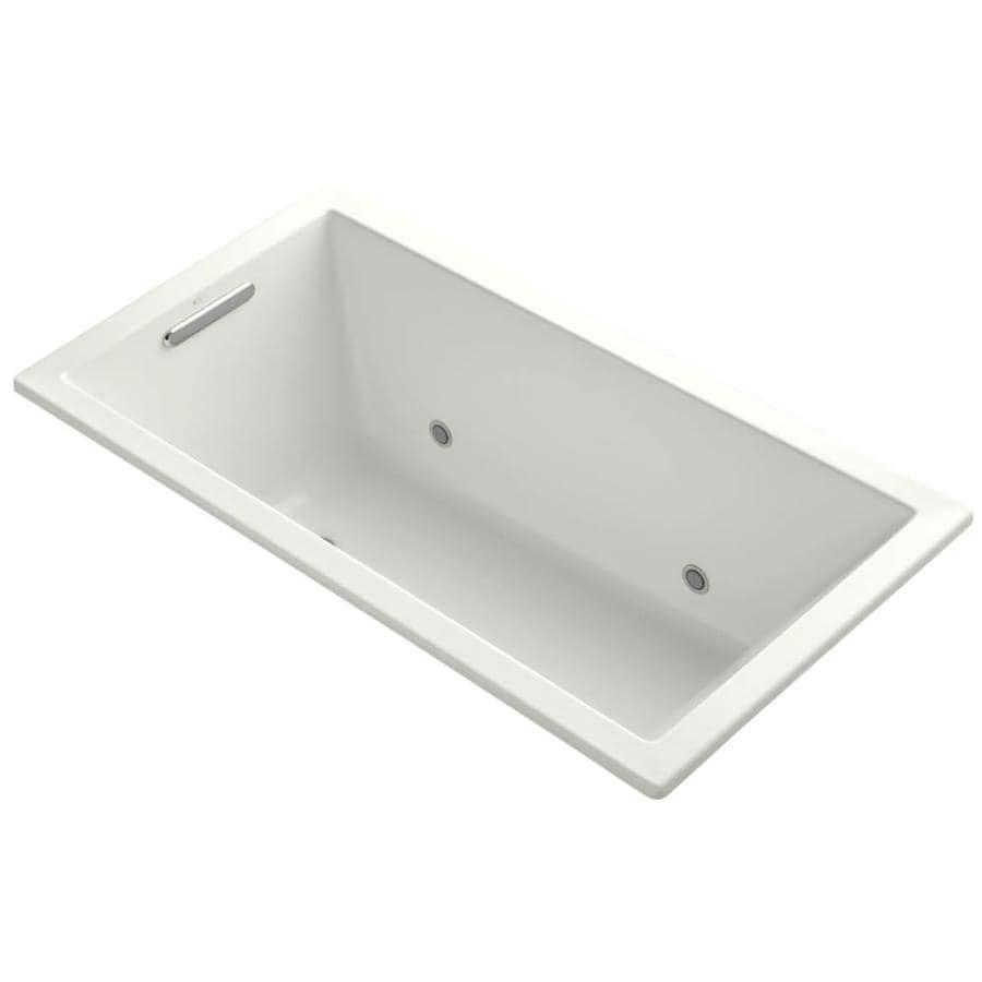 KOHLER Underscore 60-in Dune Acrylic Drop-In Bathtub with Center Drain