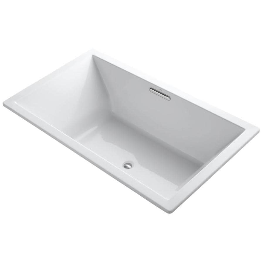KOHLER Underscore White Acrylic Rectangular Drop-in Bathtub with Center Drain (Common: 42-in x 72-in; Actual: 23-in x 42-in x 72-in)