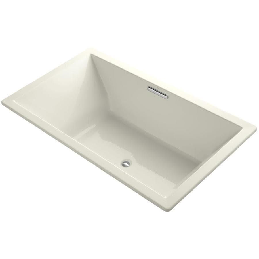 KOHLER Underscore 72-in Biscuit Acrylic Drop-In Bathtub with Reversible Drain